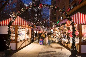 Christmas market stalls at Potsdamer Platz, Berlin, Germany